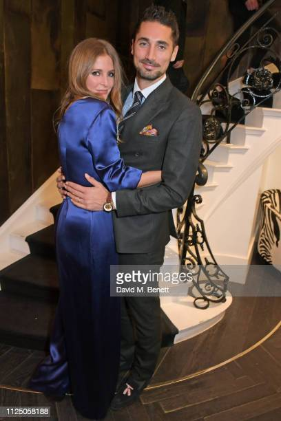 Millie Mackintosh and Hugo Taylor attend the Amanda Wakeley presentation during London Fashion Week February 2019 on February 15 2019 in London...