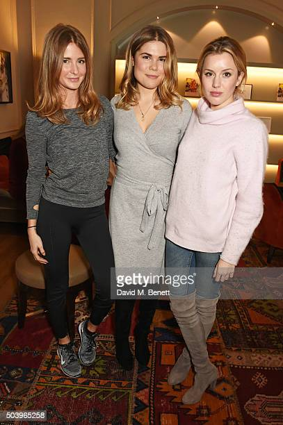 Millie Mackintosh Madeleine Shaw and Caggie Dunlop attend the Madeleine Shaw Glow Guides app launch at Brown's Hotel in partnership with Origins...