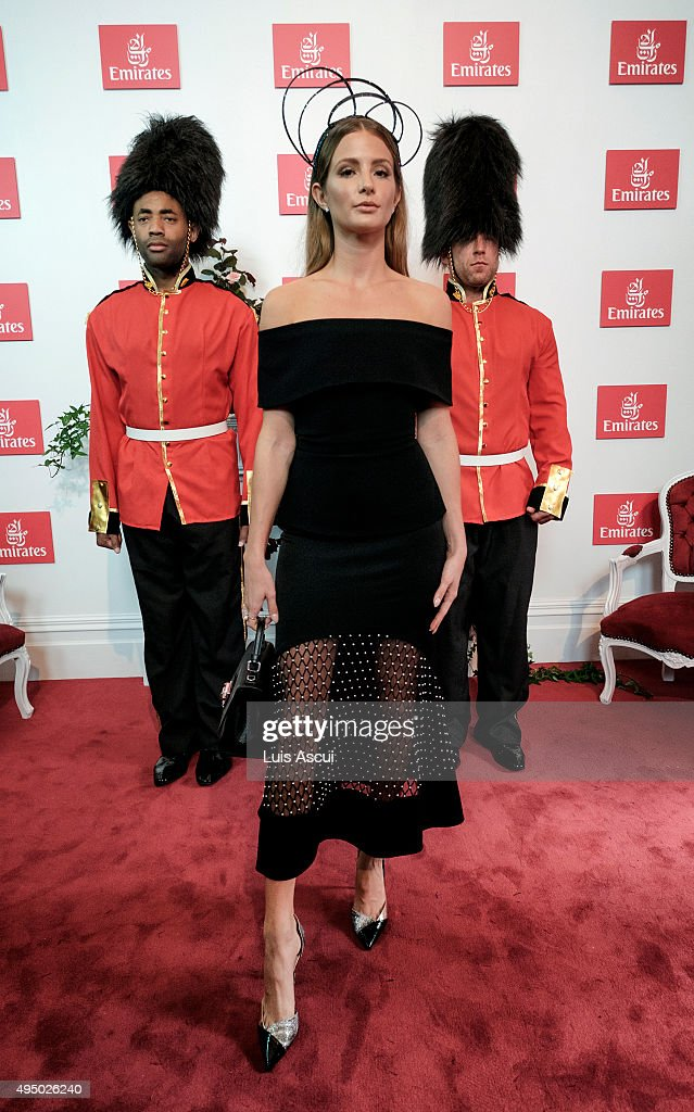 Millie Mackintosh poses at the Emirates Marquee on Derby Day at Flemington Racecourse on October 31, 2015 in Melbourne, Australia.