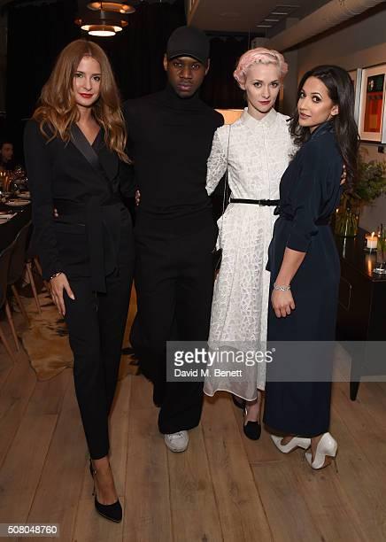 Millie Mackintosh Richard Braqo Portia Freeman and Roxie Nafousi attend the Richard Braqo VIP dinner at 155 Bar and Kitchen on February 2 2016 in...