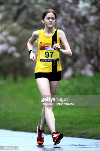 Millie Morris in action as she competes in the womens 20km walking race during the Muller British Athletics Marathon and 20km Walk Trials at Kew...