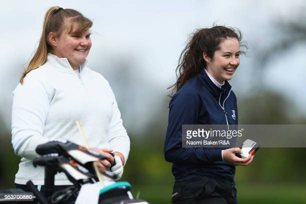 Millie Pratten and Daisy Kennedy prepare to tee off the 3rd hole during the final round of the Girls' U16 Open Championship at Fulford Golf Club on...