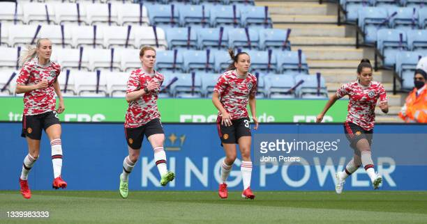 Millie Turner, Aoife Mannion, Lucy Staniforth, Ivana Fuso of Manchester United Women warms up ahead of the Barclays FA Women's Super League match...