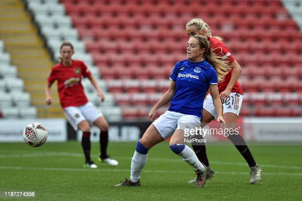 Millie Turner of Manchester United Women and Simone Magill of Everton Women in action during the Barclays FA Women's Super League match between...