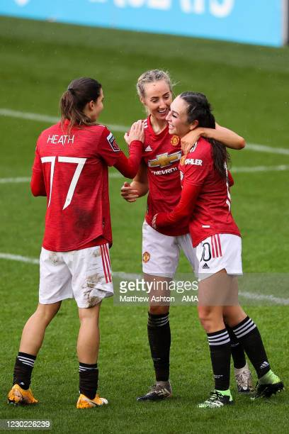Millie Turner of Manchester United Women celebrates with team mates after scoring a goal to make it 2-0 during the Barclays FA Women's Super League...