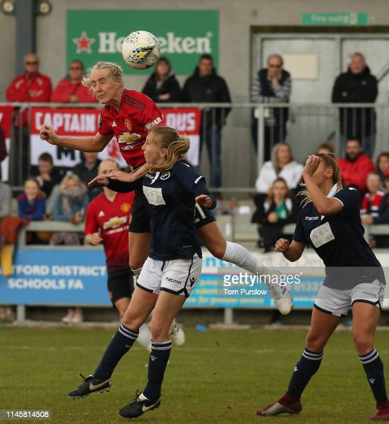 Millie Turner of Manchester United Women in action during the FA Women's Championship match between Manchester United Women and Millwall Lionesses at...