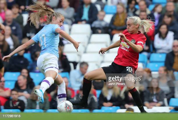 Millie Turner of Manchester United Women in action during the Barclays FA Women's Super League match between Manchester City and Manchester United at...