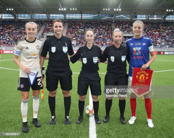 Millie Turner of Manchester United Women poses ahead of the preseason friendly match between Valerenga and Manchester United Women at Intility Arena...