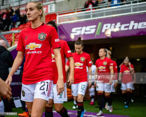 Millie Turner of Manchester United Women walks out ahead of the Barclays FA Women's Super League match between Manchester United and Liverpool at...