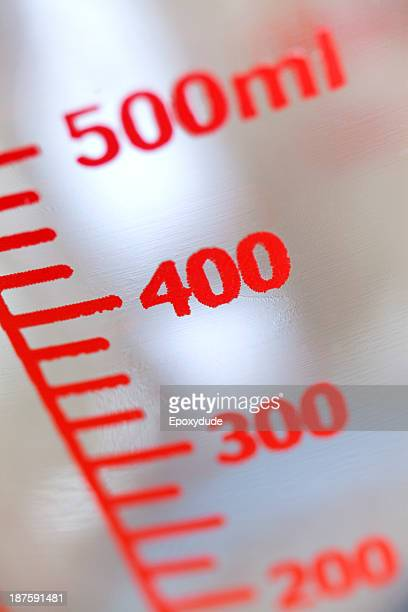 Milliliter measurements on the side of a liquid measuring cup, extreme close up