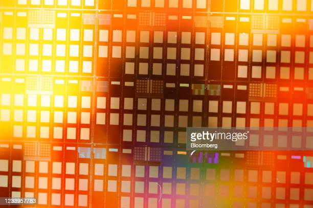 Millimetre wafer used for semiconductor research at the Interuniversity Microelectronics Centre , in Leuven, Belgium, on Wednesday, July 7, 2021. The...