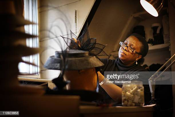 Milliner Christine Campbell works on a hat design at Lock Co Hatters on March 22 2011 in London England Founded in St James's in 1676 when Charles II...