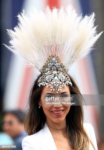 44bb5b90542 Milliner Graciella Starling wearing a feather covered hat during day five  of Royal Ascot at Ascot