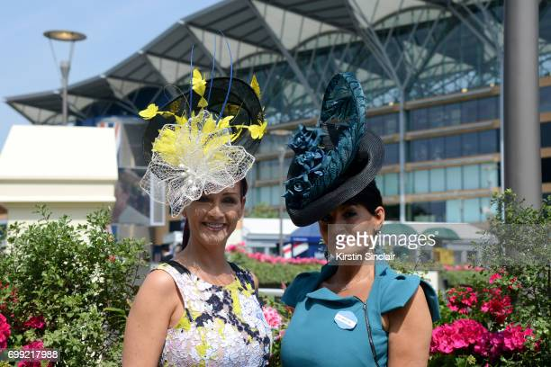 Milliner Ilda Di Vico and guest attend day 2 of Royal Ascot at Ascot Racecourse on June 21 2017 in Ascot England