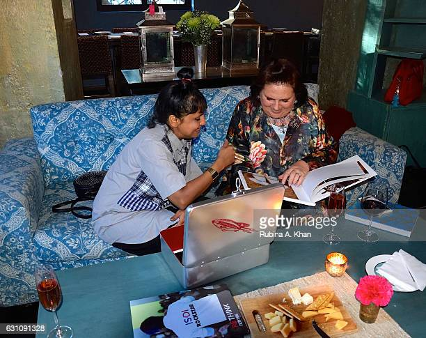 Milliner Little Shilpa and Suzy Menkes International Vogue Editor at Good Earth Lower Parel on January 6 2017 in Mumbai India