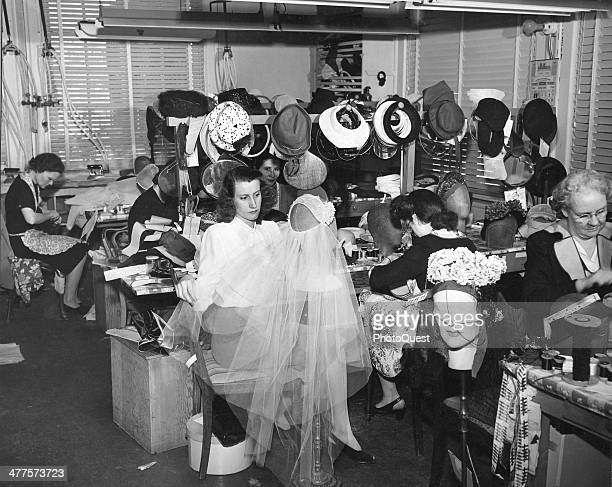 Milliners create hats and wedding veils for the NeimanMarcus department store Dallas Texas 1946