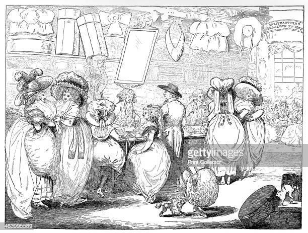 'A Milliner's Shop' 1787 From Social Caricature in the Eighteenth Century With over two hundred illustrations by George Paston pseud Emily Morse...