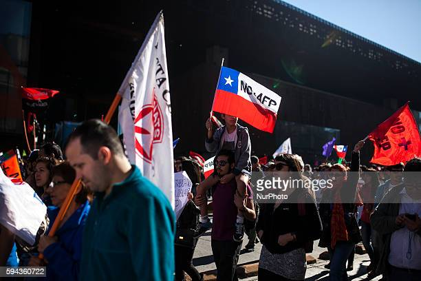 A million and a half people came to march in protest against the AFP system in Chile demanding the replacement of it in in Santiago on August 21 2016...