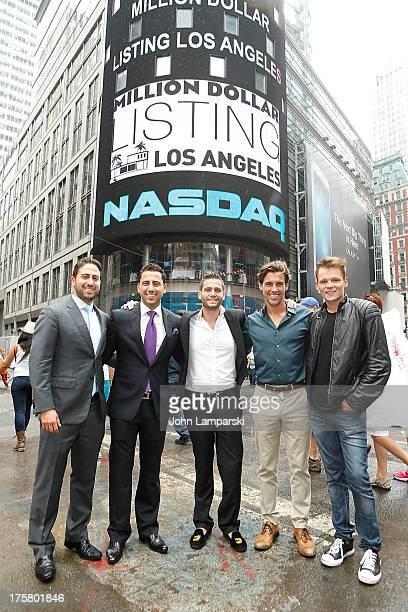 Million Dollar Listing cast members Josh Altman Josh Flagg Madison Hildebrand and guests ring the closing bell at the NASDAQ MarketSite on August 8...