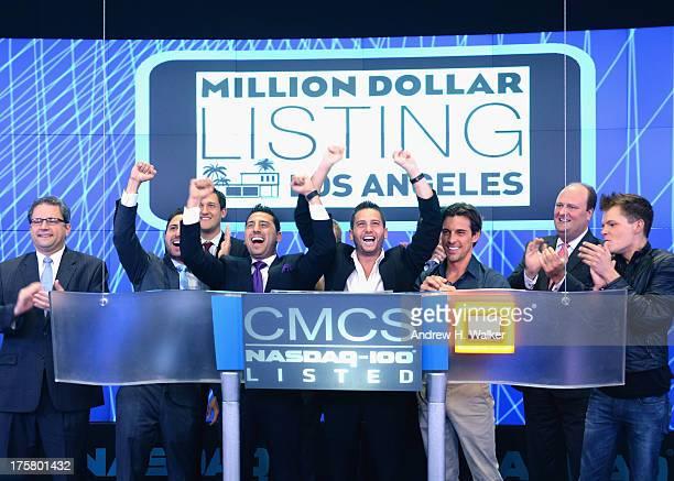 Million Dollar Listings Los Angeles castmembers Josh Altman Josh Flagg and Madison Hildebrand ring the closing bell at NASDAQ MarketSite at NASDAQ on...