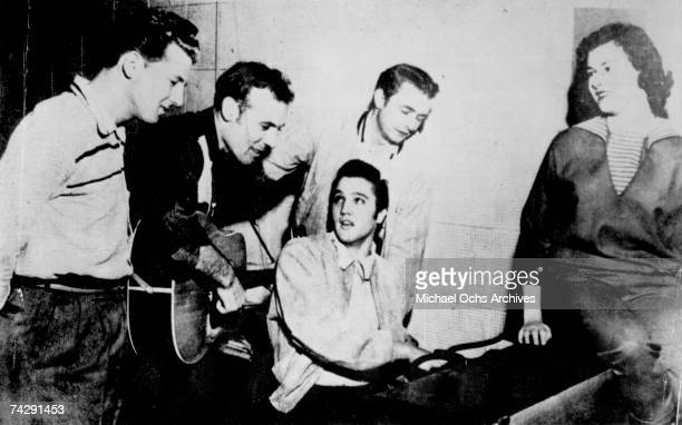 'Million Dollar Quartet' consisting of Jerry Lee Lewis Carl Perkins Elvis Presley and Johnny Cash perform in the Sun Studios in Memphis Tennessee...