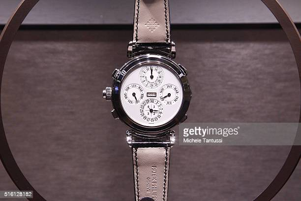 A 55 million euro watch Patek Philippe Grandmaster Chime stands on display Baselworld watch and jewellry Fair trade on March 17 2016 in Basel...