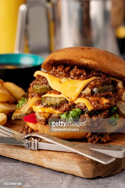 million steak or millionbøf with cheese and pickles. - brioche stock pictures, royalty-free photos & images