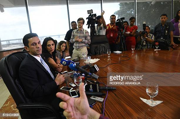 Panamanian ViceForeign Minister Luis Miguel Hincapie gestures during a press conference after a meeting with foreign ambassadors in Panama City on...