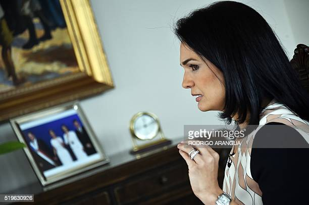 Panamanian Foreign Minister Isabel Saint Malo speaks during interview with AFP at Bolivar Palace in Panama City on April 7 2016 A massive leak coming...