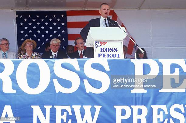 Millionaire businessman and Presidential candidate Ross Perot speaks at a petition drive in Orange County California 1992