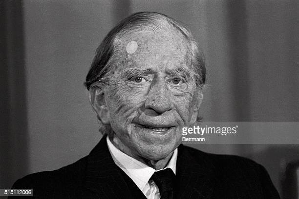 Millionaire J Paul Getty Sr smiles at press conference to establish the J Paul Getty Wildlife Conservation Prize Others attending were Prince...