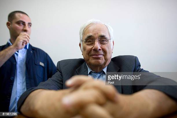 US millionaire Morris Talansky appears in court as the key witness in the corruption probe against Israeli Prime Minister Ehud Olmert on on July 17...