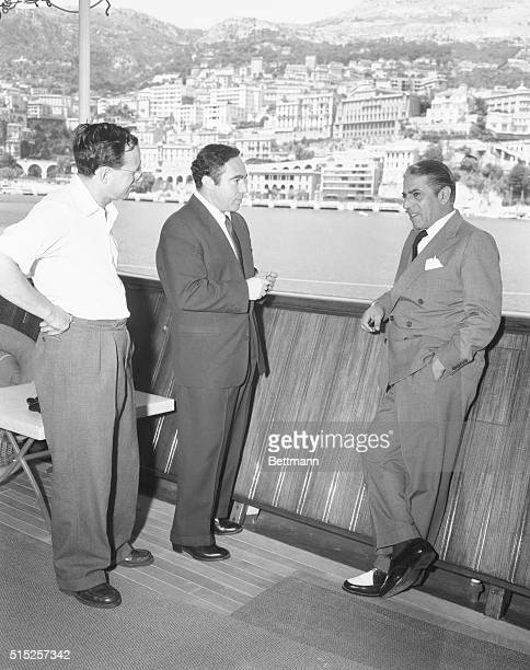 Millionaire owner of a huge tanker fleet the Greek born Aristotle Onassis answers a few questions to United Press Staff Reporters Robert Ahier and...