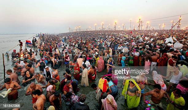 Millions of devotees gathered to take a holy dip at the bank of Sangam confluence of river Ganga Yamnuna and mythical Saraswati on the occasion of...