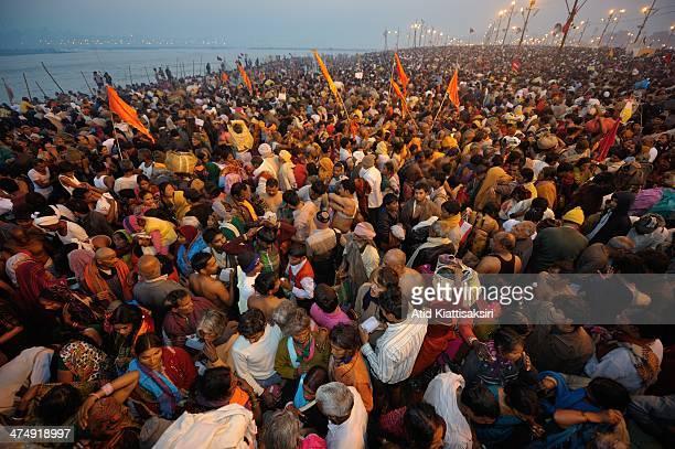 Millions of devotees gathered to take a holy dip at the bank of Sangam the confluence of river Ganga Yamnuna and mythical Saraswati on the Shahi snan...