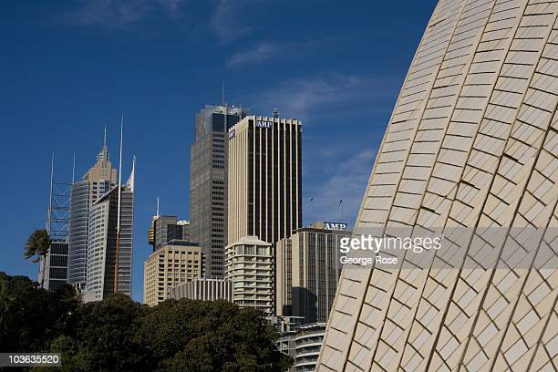 Millions of glazed mosaic tiles cover the sweeping roof of the Sydney Opera House on August 8 2010 Sydney AustraliaThe multiuse performing arts venue...