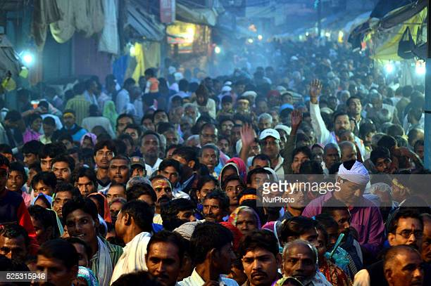 Millions of Indian devotees gather outside of Hindu Lord Ram's Temple and to take part in a Religious processsion on ocassion of Diwali festivalat...