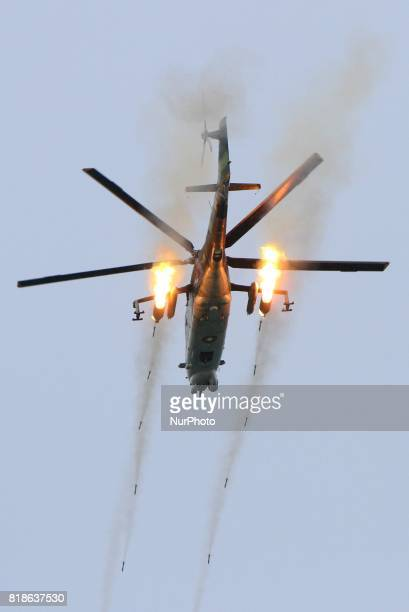 Millitary helicopter in the Black sea town of Shabla, on 18 July 2017, during the biggest multinational NATO exercise in the Black Sea region called...