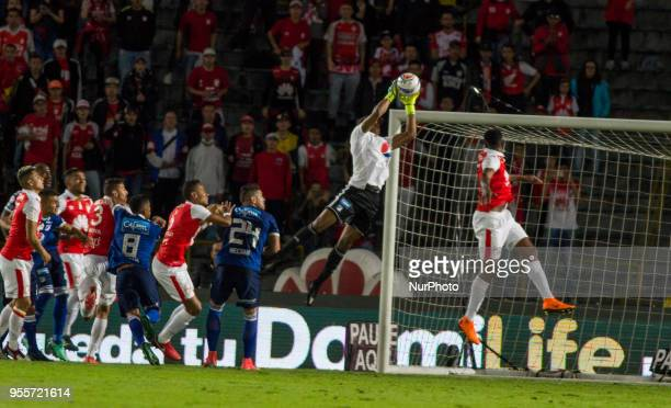 Millonarios goalkeeper Wuilker Farinez catching the ball during the classic Primera Liga Colombia match between Santa Fe and Millionarios at Estadio...