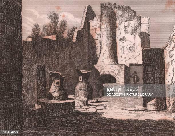 Mills and baker's oven in Pompeii Campania Italy steel engraving from L'Italia la Sicilia le isole Eolie l'isola d'Elba la Sardegna Malta l'isola di...