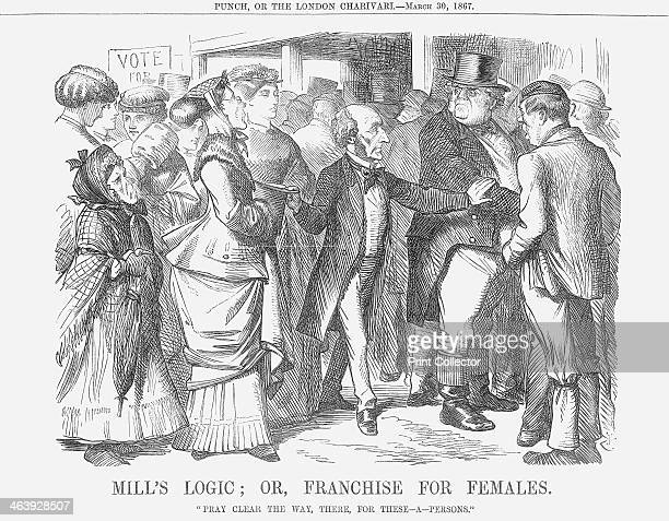 'Mills' Logic or Franchise for Females' 1867 John Stuart Mill in the centre makes a path for 'these persons' who are shown as a rather varied bunch...