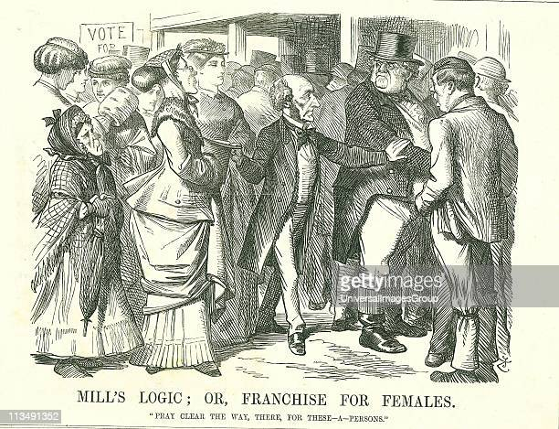 Mill's Logic or Franchise for Females John Stuart Mill asking an indignant John Bull to make way for women to cast their vote The figure foreground...