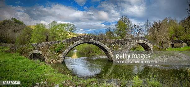 mill's stone bridge - epirus greece stock pictures, royalty-free photos & images