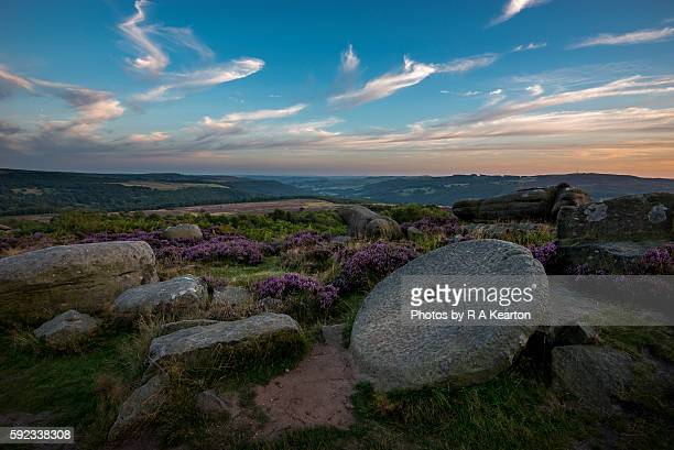 Millstone in the Peak District at dusk