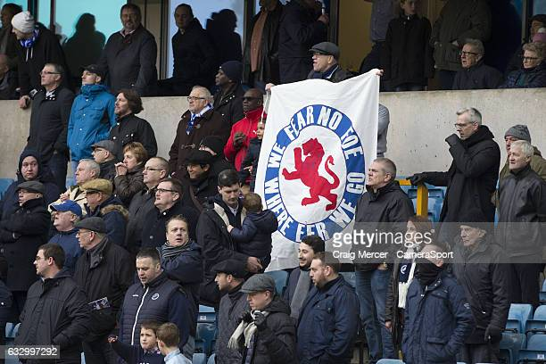 Millwall fan holds up a banner saying We fear no foe where eer we go during the Emirates FA Cup Fourth Round match between Millwall and Watford at...