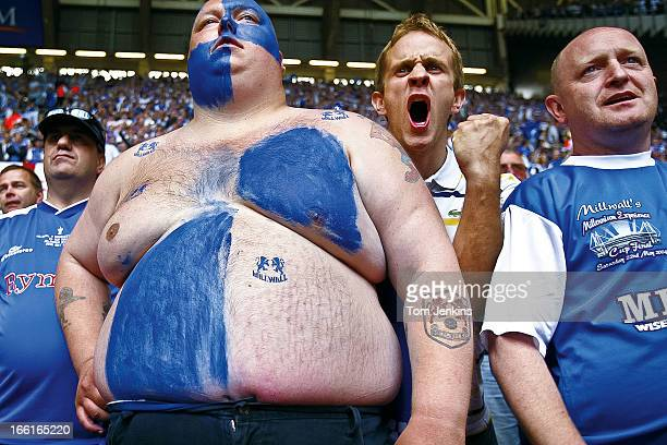 Millwall fans encourage their team during the 2005 F.A. Cup Final Millwall versus Manchester United at the Millennium Stadium on May 22nd 2005 in...