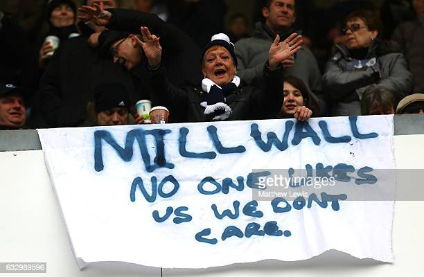 Millwall fans showcase their banner during The Emirates FA Cup Fourth Round match between Millwall and Watford at The Den on January 29 2017 in...