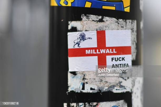 Millwall FC sticker is seen on a lamppost near the stadium prior to the Sky Bet Championship match between Millwall and Wycombe Wanderers at The Den...