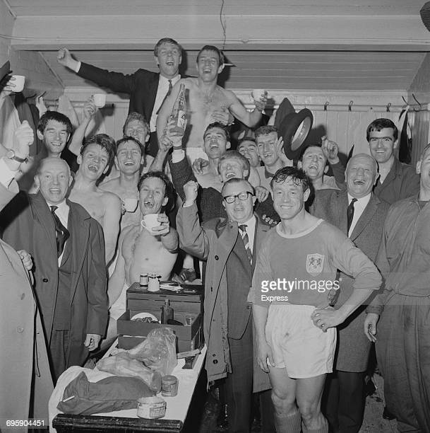 Millwall football team with their manager Billy Gray after winning their promotion from Division Four UK 2nd May 1965