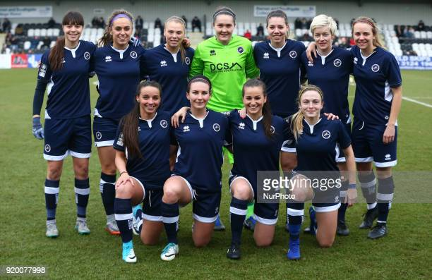 Millwall Lionesses Team Shoot during The FA Women's Cup Fifth Round match between Arsenal against Millwall Lionesses at Meadow Park Borehamwood FC on...